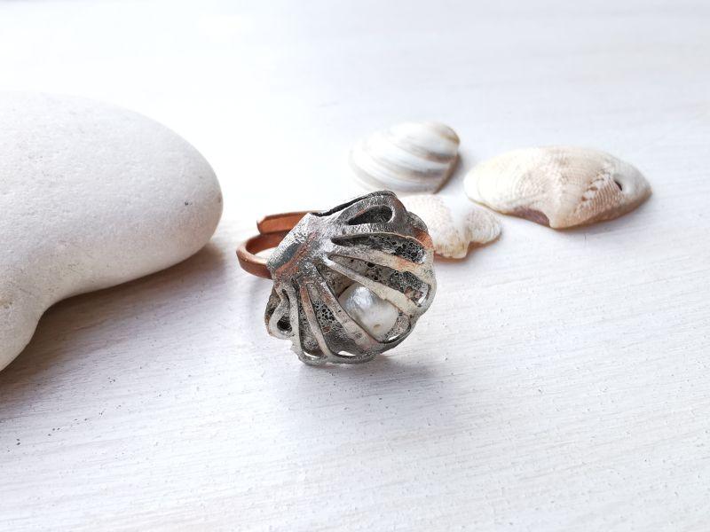 anello conchiglia rame e argento