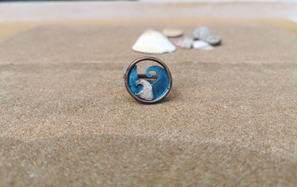 anello rame con onda turchese e argento