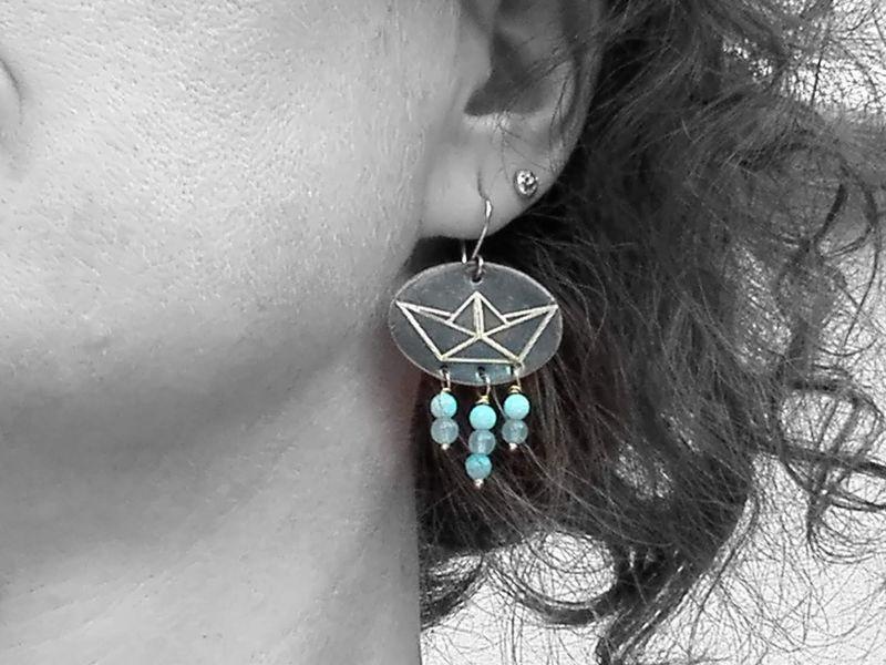 orecchini pendenti rame da indossare al mare